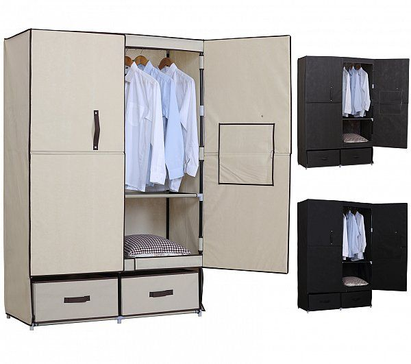 SS5023 Woltu Stoff Textil Kleiderschrank Stoffkleiderschrank Campingschrank…