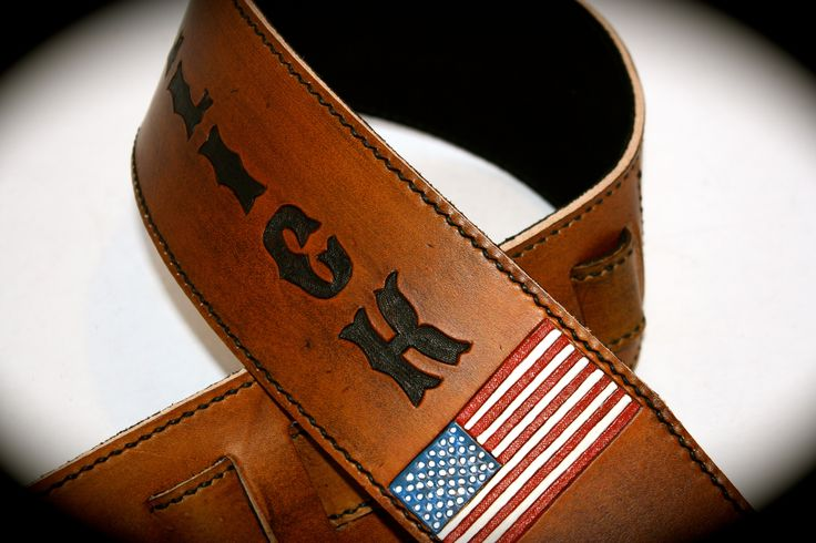 Red white and Blue.  Customize your guitar strap at www.etsy.com/shop/flatlineleather
