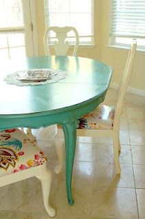 Bold paint for upcycled old oak furniture: turquoise table, off white chairs & fun cushion.