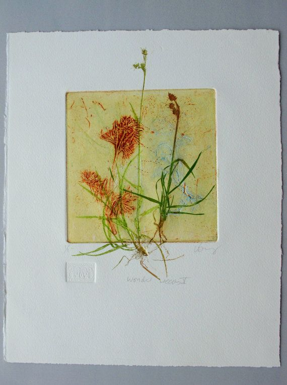 Anniversary SALE Collograph mono print by LynnBaileyPrintmaker, £45.00