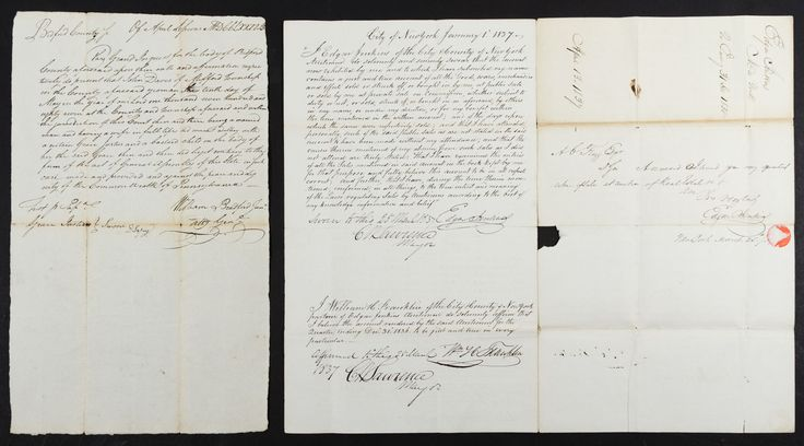 Lot 302: 1788 William Bradford Signed Legal Document; Two items including a 1788 adultery judgement signed by William Bradford, attorney general of Pennsylvania and the second United States attorney general from 1794 to 1795; and an 1837 auction document signed by New York City mayor Cornelius Lawrence