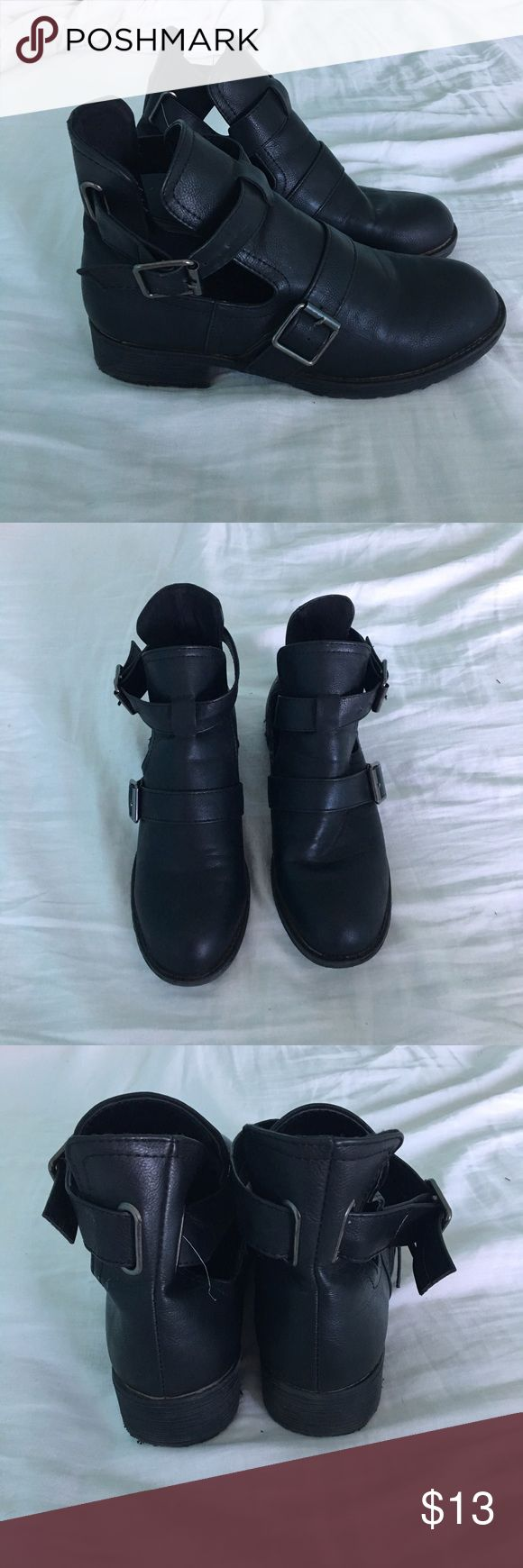 Black booties Super cute boots! Says size medium on the bottom of the shoe, which is anywhere from 7.5-9. I wear a 7 and they were a little too big. Adjustable buckle detailing, great condition. Very versatile. (Tumblr, hipster, aesthetic, minimalist, edgy, badass, grunge, 90's, 90s, vintage, love, fashion, style) Rue 21 Shoes Ankle Boots & Booties