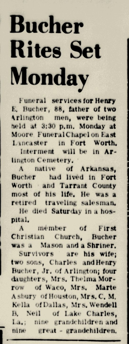 314 best bucher and bailey family images on pinterest ancestry arlington daily news texan arlington texas obituary death record newspaper clipping from feb aiddatafo Choice Image