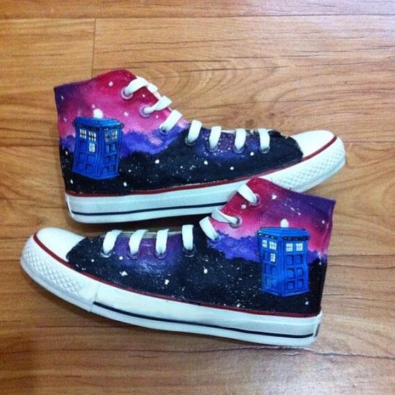 Doctor Who Custom Converse / Dr Who Converse / DW by painted shoes in artfire site