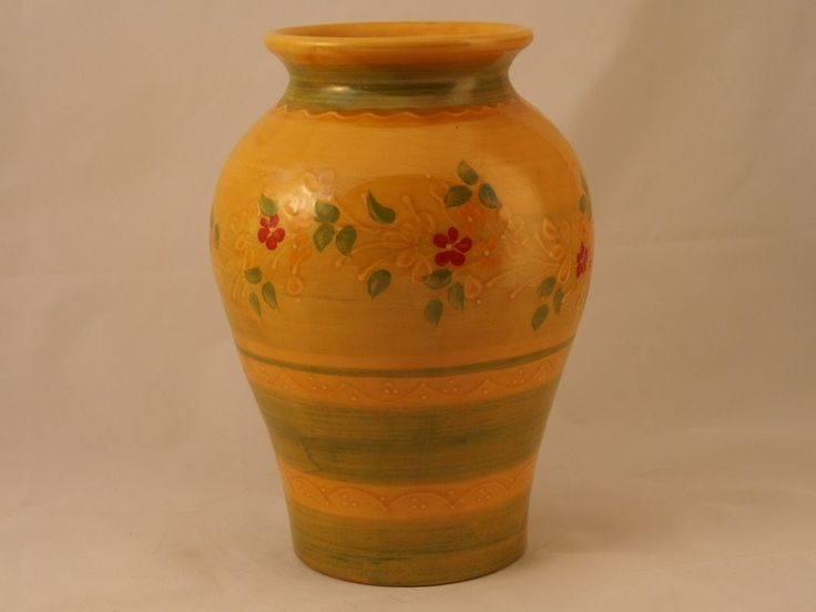 "Souleo Provence Rustic French Pottery Small Cathy Vase 11""h A beautiful statement for your French country home.  Handmade in France.  Lovely rich colors of the Provence region."