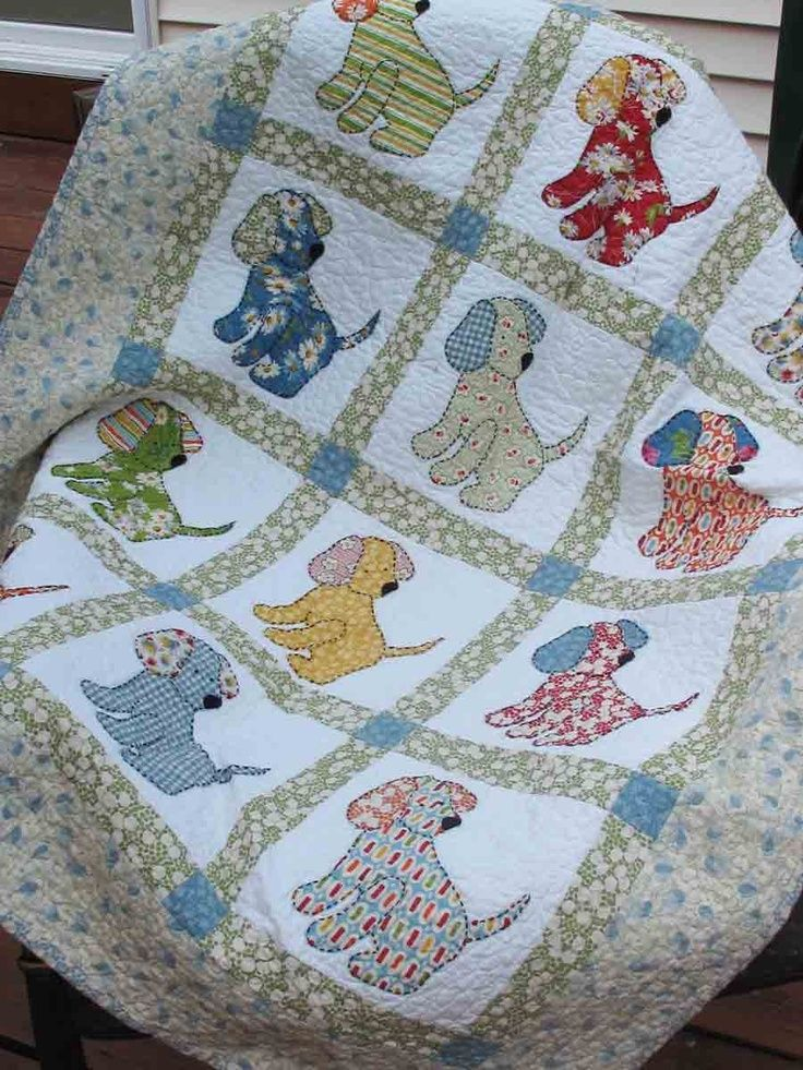 Vintage quilt patterns puppy love quilt pattern for How to make a quilt template