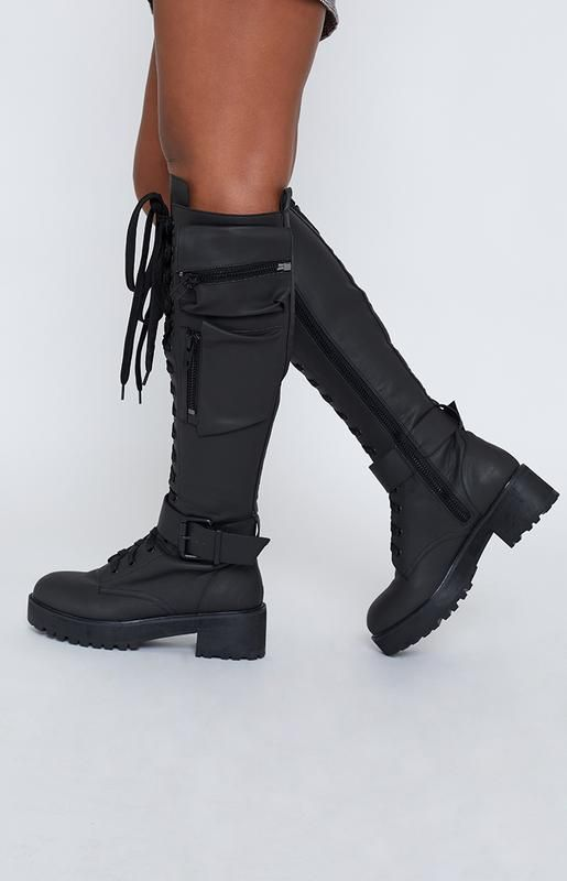 a746510b7 Current Mood Obsidian Pocket Combat Boots