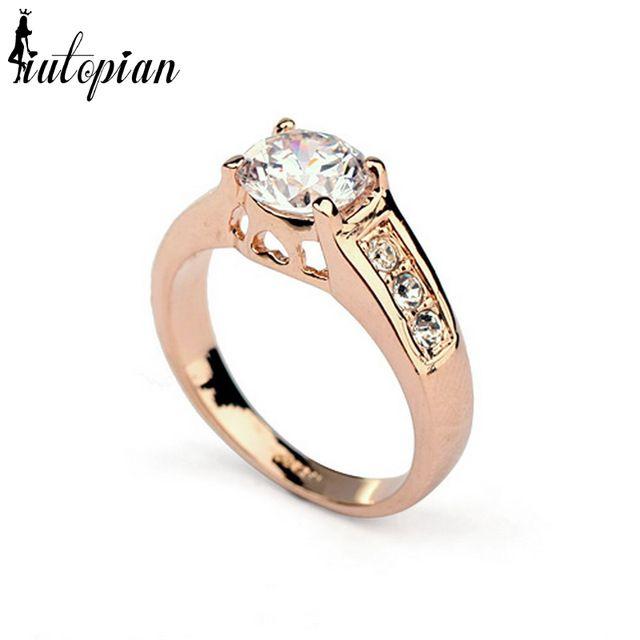 Iutopian Marca Weddeing Anéis Anillo de Compromiso Del Anillo con la piedra Para La Mujer Genuino Austriaco Circón Dont Lose Color # M-93405