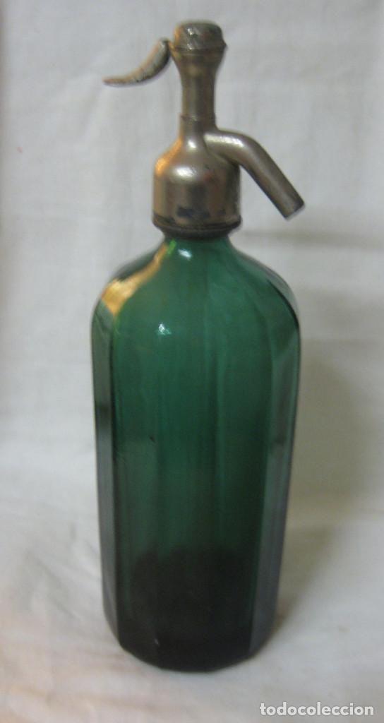 SIFON VERDE OSCURO CON TAPON PLOMO - BARRANCA BARCELONA (Botellas y Bebidas - Botellas Antiguas)