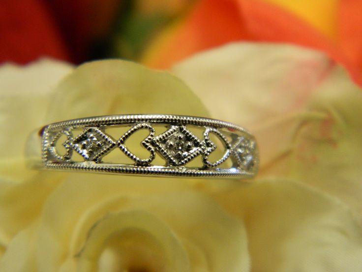 White gold diamond heart band
