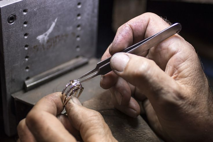 A master jeweler at Inspired Jewellery sets a diamond on a ring. #craftmanship #jewelry #design