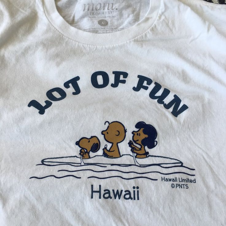 Worn Hawaii limited peanuts t-shirt with the brown Charlie, Snoopy and Lucy