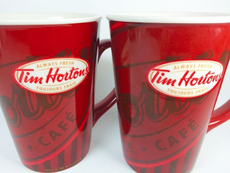 Tim Hortons Coffee Mug Cup Set of 2 Red Stripes Cafe Limited Edition 008 #TimHortons