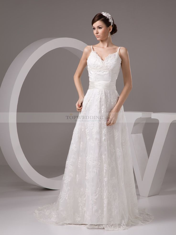 Spaghetti Strapped A Line Wedding Dress with Lace Overlay