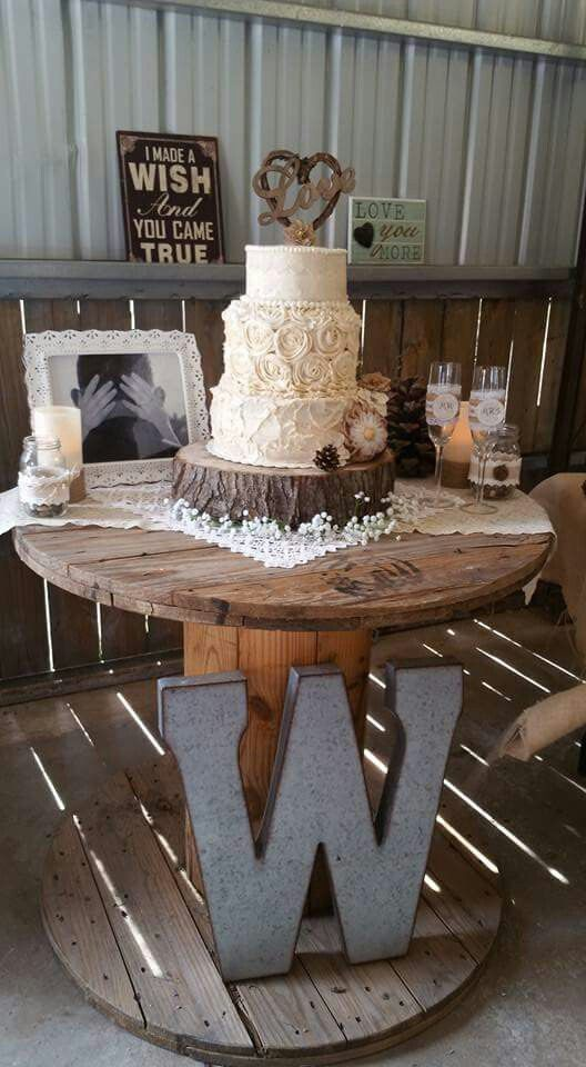 Low budget DIY rustic wedding decor... DIY candles/mason jar vases, thrift store lace fabric for tables, DIY wood base for cake, DIY champaign glasses