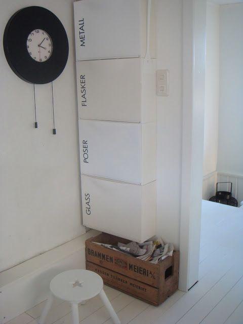 2 engler: Nib utfordring, smart oppbevaring! - use IKEA Trones boxes to sort recycling