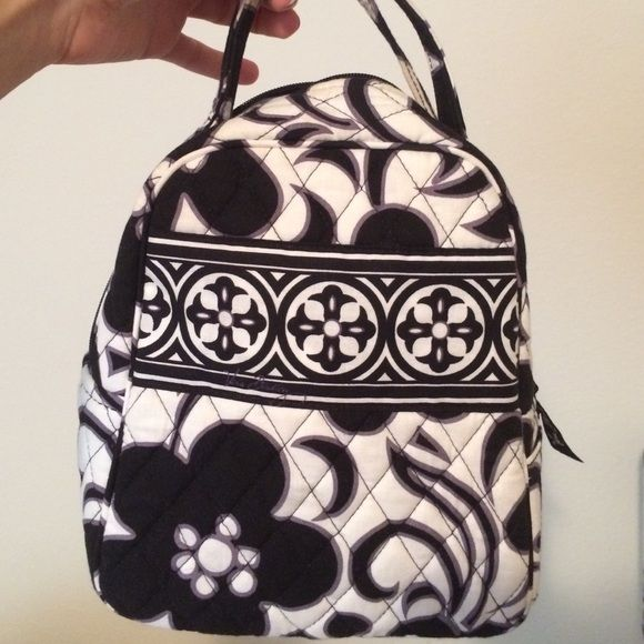 Vera Bradley lunch box!!! Black and white lunch bag. No tears or any signs of wear besides stain inside as shown in picture. Vera Bradley Bags