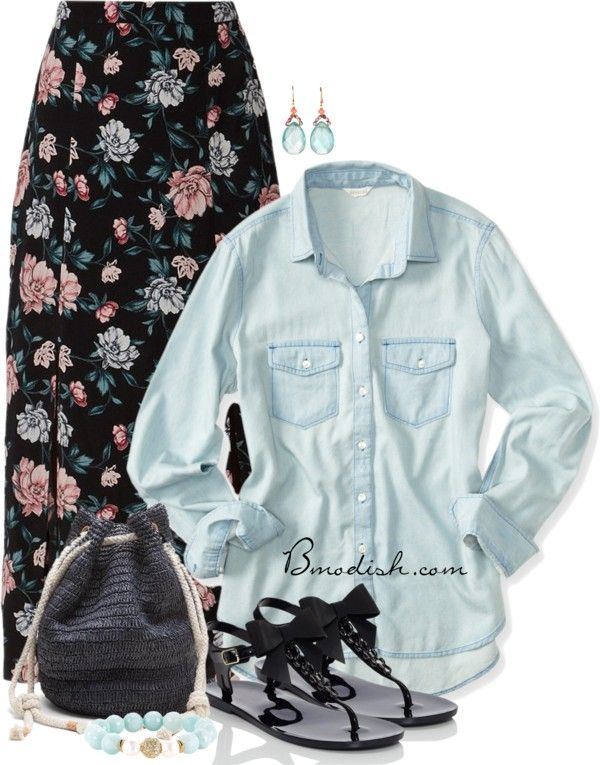 Floral maxi skirt with chambray shirt casual summer outfit