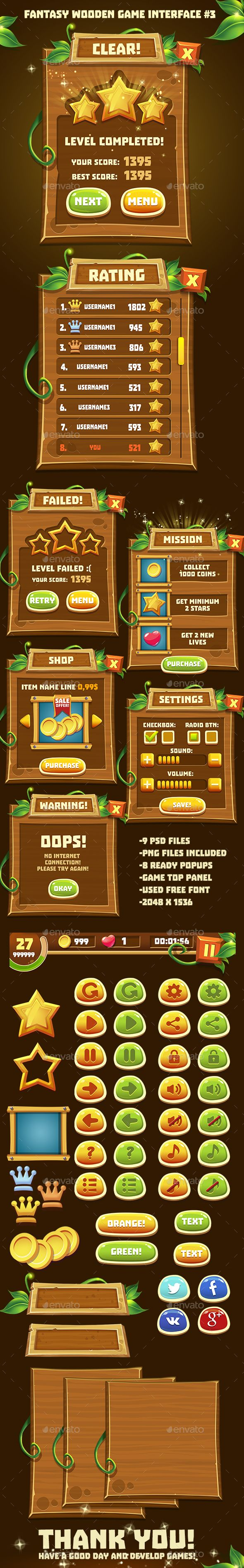 Fantasy Wooden Game Interface #3