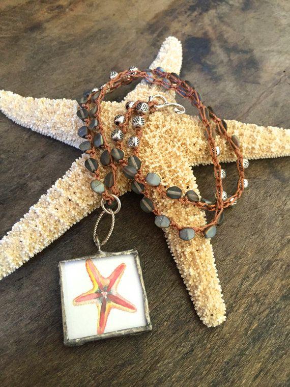 Geknotete häkeln Halskette Seepferdchen von TwoSilverSisters