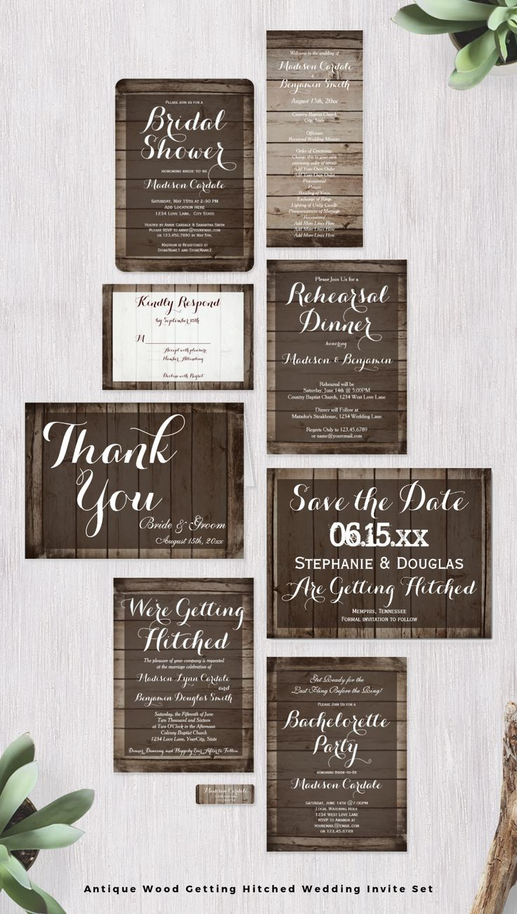 ideas for country wedding invitations%0A Antique Wood Getting Hitched Wedding Invitation Suite featuring a  distressed wood background for a rustic country