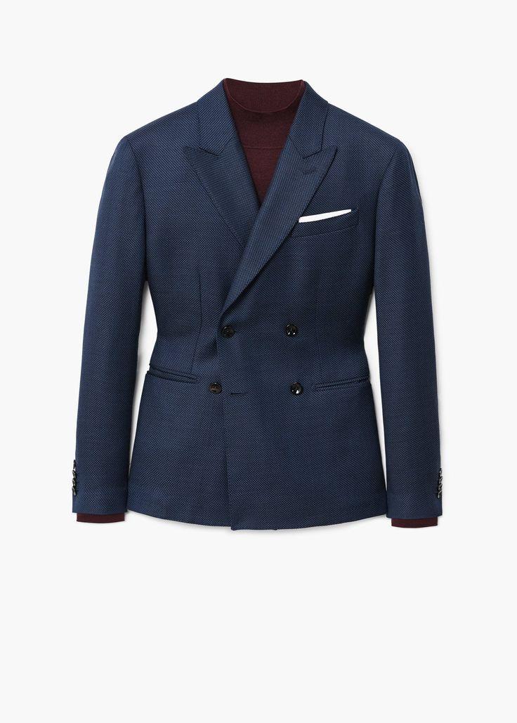 Americana traje slim-fit lana - Trajes de Hombre | MANGO Man España