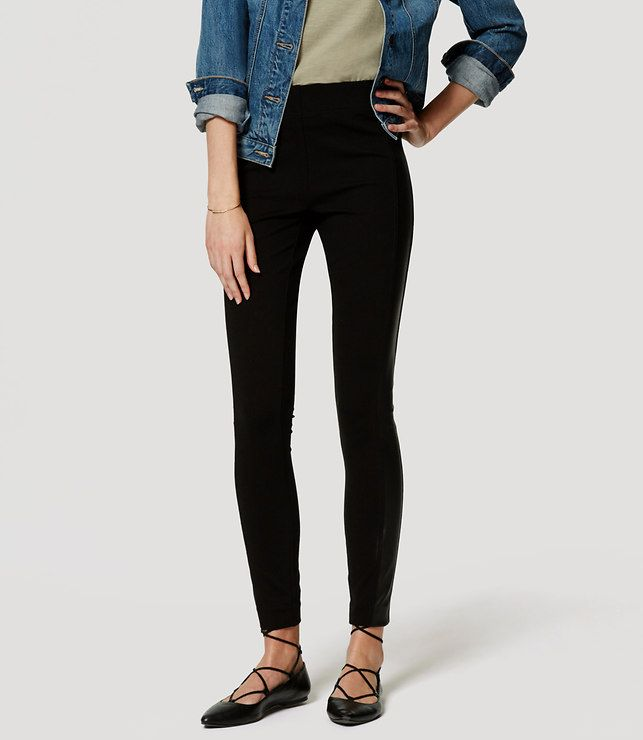 LOFT faux leather seamed ponte leggings