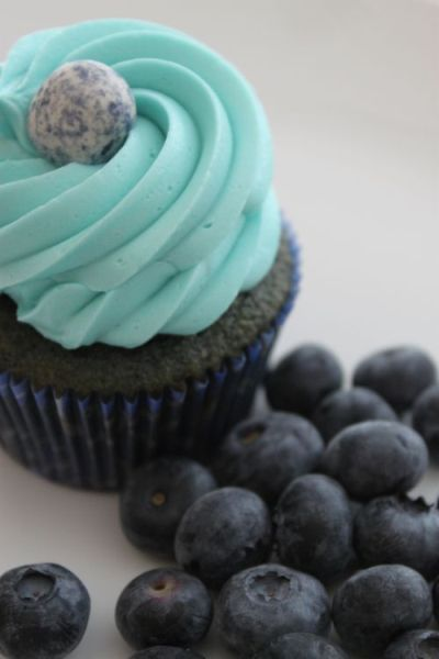 Blueberry Cupcakes ½ cup butter, room temperature 1 cup sugar 2 eggs 1 ¾ cup pastry flour 2 tsp. baking soda 1 tsp. baking powder ¼ tsp. salt ¾ cup milk 2 tsp. vanilla ½ cup blueberry puree (2 cups fresh/ thawed BBs,¼ cup sugar 1 Tbsp. cornstarch) Preheat oven to 350 degrees. Line 12-18 cupcake pans with paper liners (or 24+ minis).