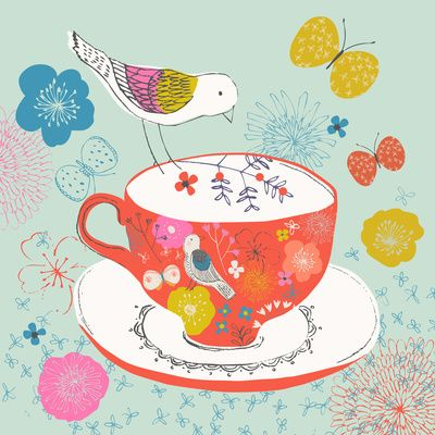 Bird and Teacup Art Print by Drawnbyrebeccajones