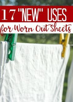 "Ways to Upcycle Sheets - Do you have old sheets lying around? Who doesn't? These 17 ""new"" uses for worn out sheets will have you looking at them in a different light...and maybe saving a buck or two in the process!"