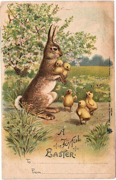 Darling Easter Bunny w/ Chicks - The Graphics Fairy