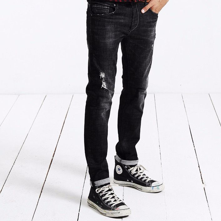 Autumn Winter New Jeans Men Fashion Denim Pants Casual Trousers Cotton Hole
