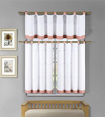 Park Avenue Collection Tatum Microfiber Tap Top 3Pc Kitchen Curtain Set /White-Orange