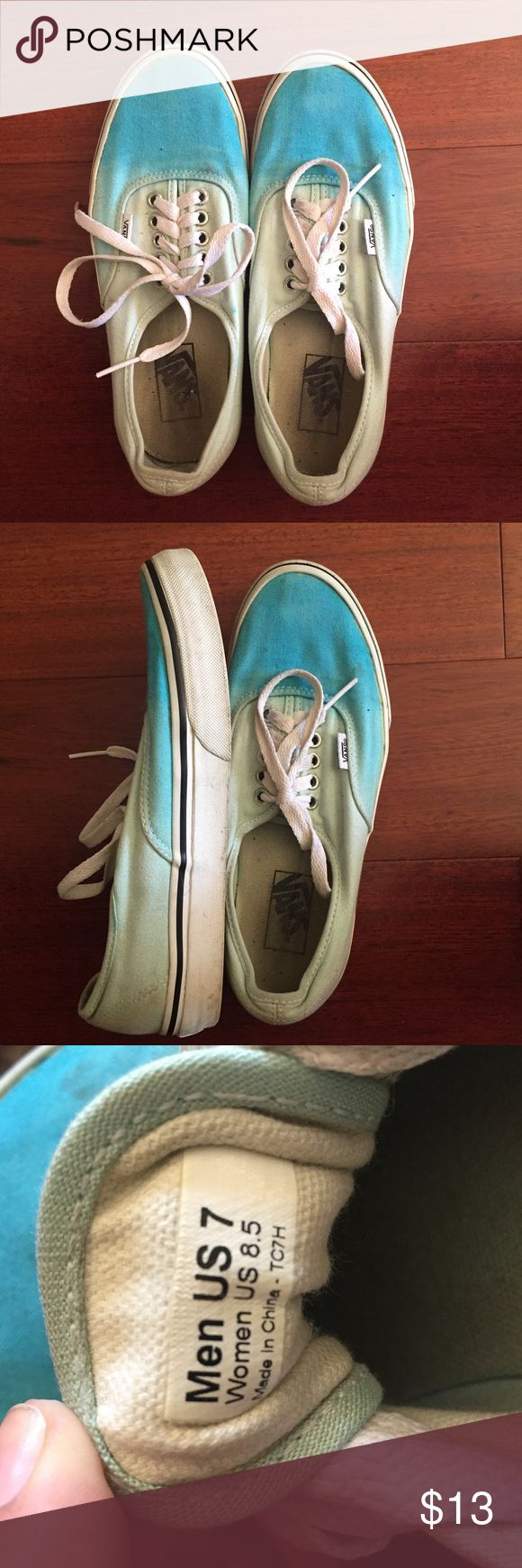 mint green vans blue to mint green ombré vans. mid condition. offers are welcome. Vans Shoes Sneakers