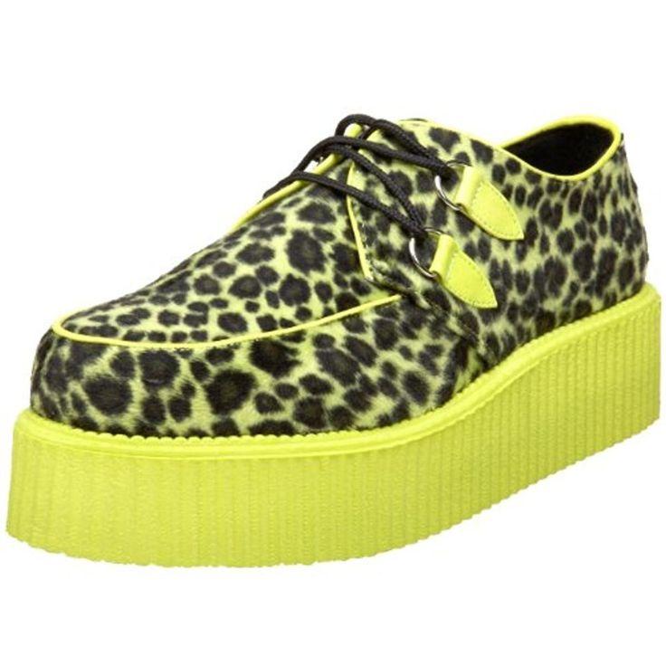 Demonia Mens Creeper Cheetah Fur Fashion Sneakers