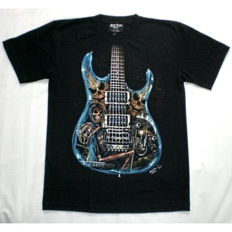 Maglietta stampa chitarra elettrica