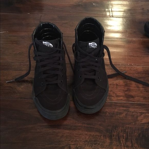 Vans high top shoes all black Hardly been worn. Great condition and price Vans Shoes