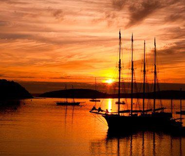 Sunset over Bar Harbor, ME