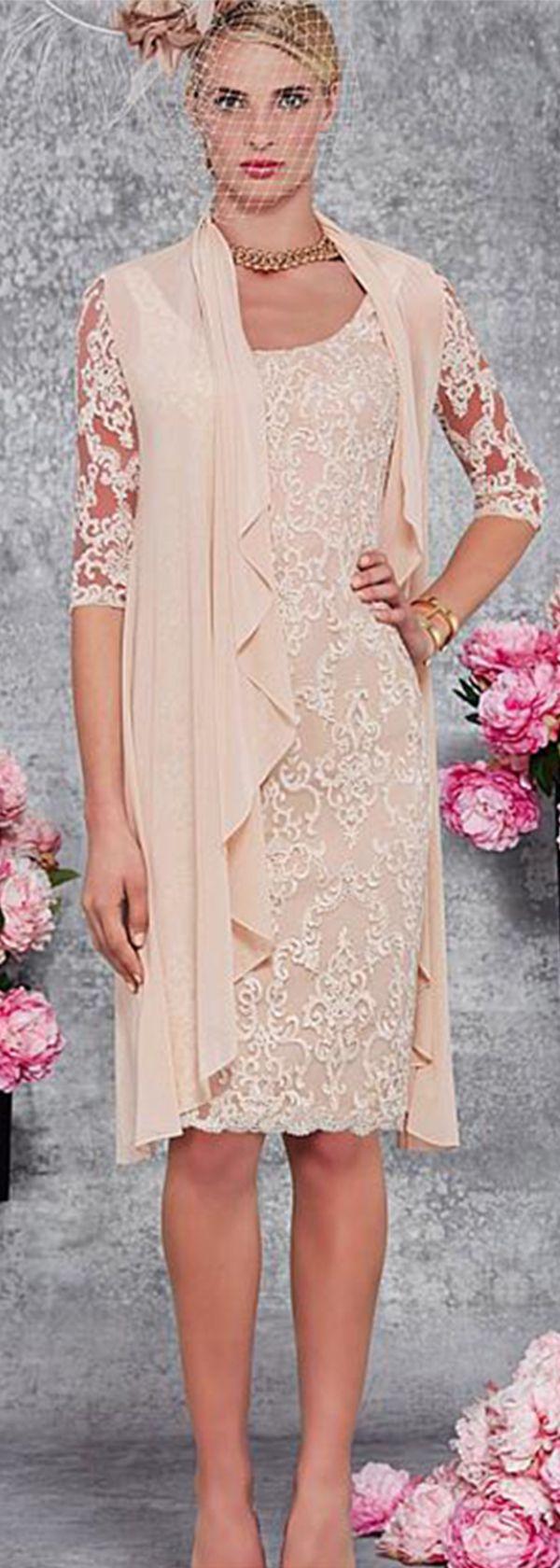 Romantic Lace & Chiffon Scoop Neckline Knee-length Sheath Mother Of The Bride Dress With Detachable Coat