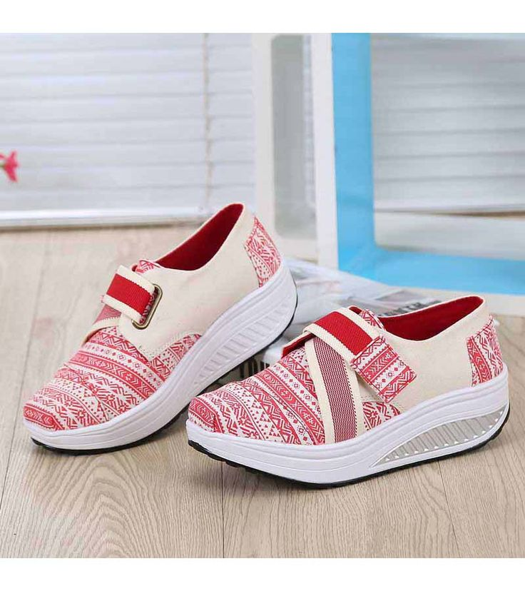 Women's #red velcro #rocker bottom sole shoe sneakers art pattern design,  lightweight,