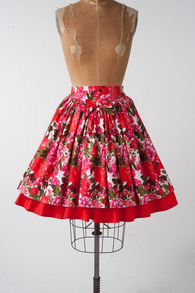Vintage bloemen katoen rok, brede rok van de jaren 1980, heldere rode bloem afdrukken, Dameskleding, rokken  Mooie 80s floral print rok! Heldere