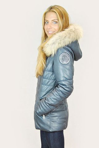 VENT COUVERT FJORD NAVY MID LEATHER PUFFER