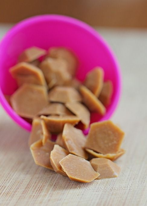 Healthy Peanut Butter Chips - NO corn syrup, NO refined sugar, NO trans fat: http://chocolatecoveredkatie.com/2013/04/22/healthy-homemade-vegan-peanut-butter-chips/