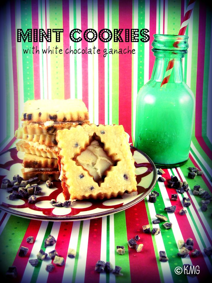 Mint Cookies with White Chocolate Ganache