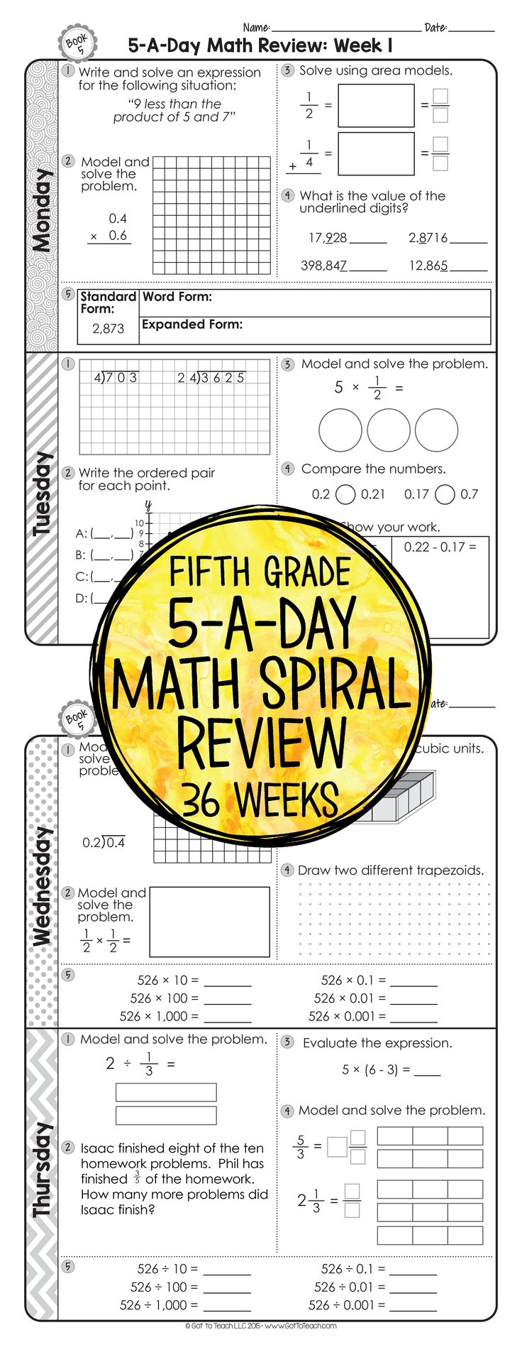 Worksheets 5th Grade Common Core Math Worksheets best 25 year 5 maths worksheets ideas on pinterest 36 weeks of daily common core math review for fifth grade preview and important