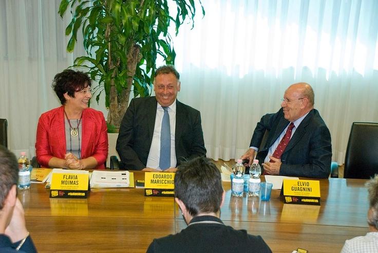 I tre relatori della conferenza. Da sinistra: Flavia Moimas, Edoardo Maricchio, Elvio Guagnini