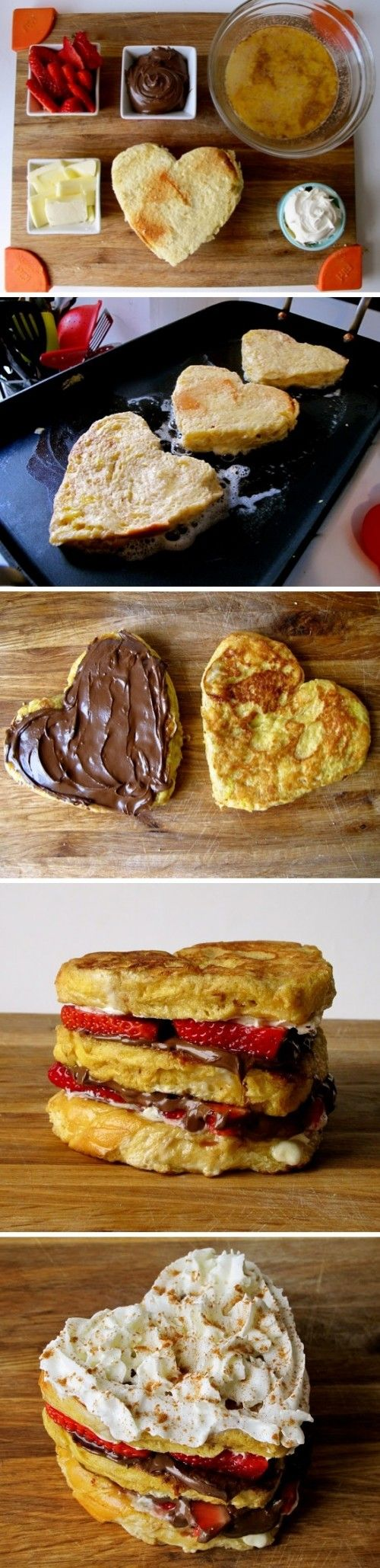 Nutella and Strawberry Stuffed French Toast (Heart Shaped)