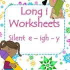 3 worksheets practicing common long i spelling patterns- Silent e, igh, and y.  *Cut, sort, and glue 9 words by spelling pattern. Then write 3 sent...