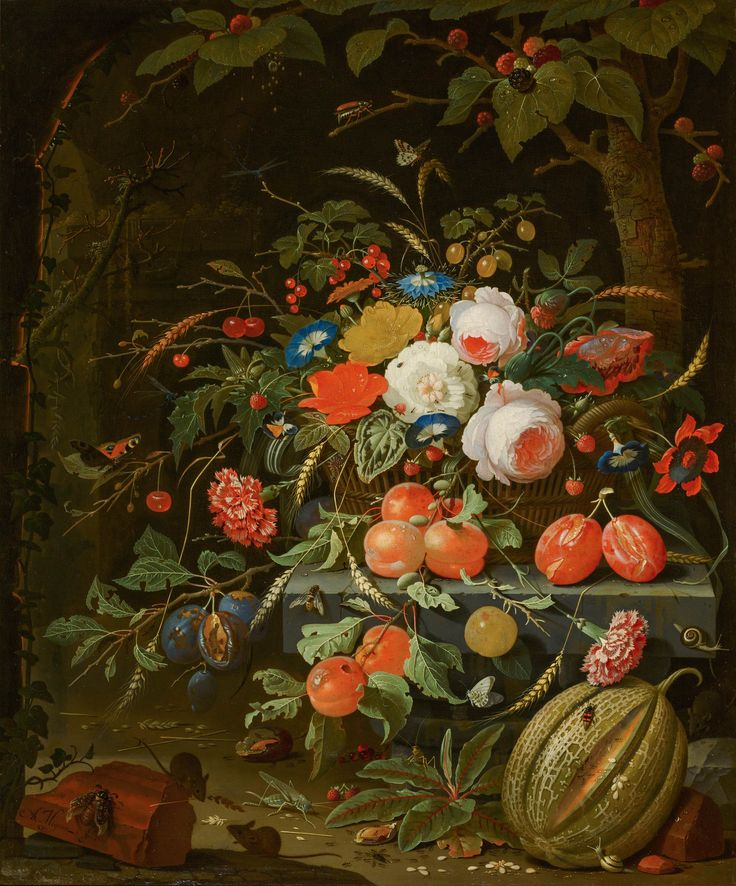 Abraham Mignon (1640–1679) Flowers and Fruit 1669-1679 Galerij Prins Willem V, The Hague, Mauritshuis.