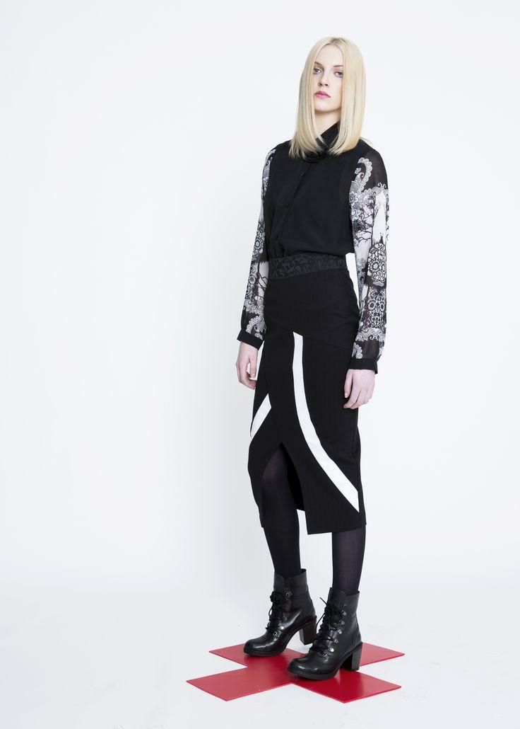 Skull Print Sleeve Shirt, Ryder Leather Skirt
